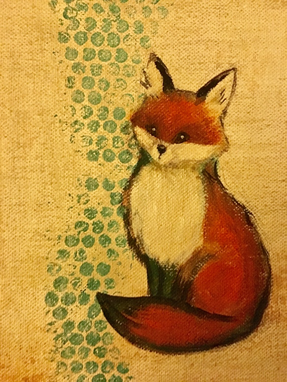 Little Fox- acrylic on canvas by Meg Faulkner 2018